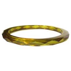 Bakelite Apple Juice Bracelet, Faceted Bangle Deco