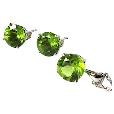 Peridot Earrings & Necklace, 18K White Gold