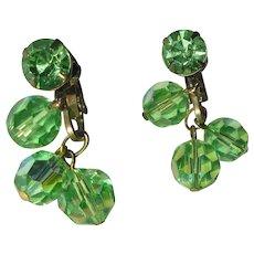 Green Crystal Earrings, Vintage Rhinestone, 1960's Dangling
