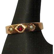Victorian Ring, Rose Gold, Garnet & Pearl, 10K