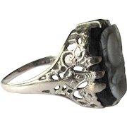 Ostby Barton Filigree Ring, 14K WG, Edwardian