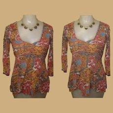 Sheer Knit Blouse, Vintage 80's Hippy, Boho 60's Revival
