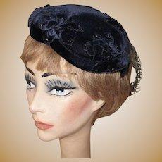 Velvet Hat, Rhinestone Studded Vintage 40's