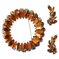 Juliana Rhinestone Brooch & Earrings, 1960's Fall Colors