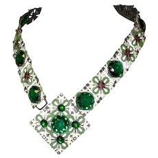 Art Nouveau Necklace, French Champleve Enamel & Czech Glass