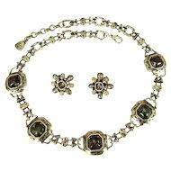 Art Glass Necklace & Earrings, Vintage 1980's Anne Klein