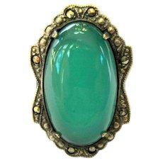 Art Deco Ring, Sterling, Marcasite & Art Glass