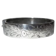 Silver Bracelet, Antique English, Aesthetic Movement, Etched Floral