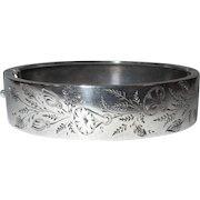Silver Bracelet, Antique English, Aesthetic Movement, Etched Floral
