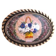 Victorian Crystal Brooch, Floral GF Paperweight Pin