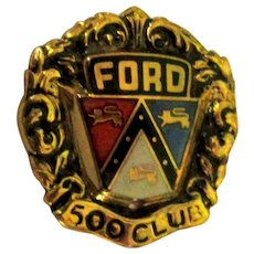 Ford Pin 10K Yellow Gold Vintage Enamel 500 Club