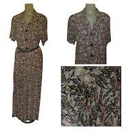 Vintage Dress, 1995's Shirt Waist, Maxi Flax