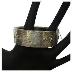 Silver Bracelet, Antique Aesthetic Movement, Floral