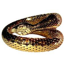 Whiting & Davis Snake Bracelet, Gold Toned, Coiled, Vintage