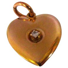Diamond Charm, Puffy Heart, 10K, Gold, Vintage Valentine