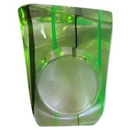 Lucite Rainbow Ring, 1960's Greens