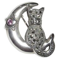 Cat Pin, Sterling & Marcasite, Moon, Vintage