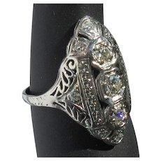 Platinum Diamond Ring, Art Deco Filigree, 1940's