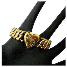 Vintage Sweetheart Bracelet, Heart Expansion, 1940's Valentine