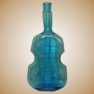 Vintage Violin Bottle, Aqua Blue Glass