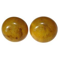 Bakelite Butterscotch Earrings, Vintage Button Clip Ons