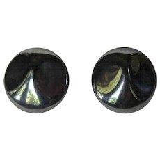 Glass Button Earrings, Vintage Hematite Color Clips