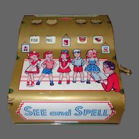 Wolverine See & Spell, Vintage Educational Toy, Tin Litho