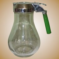 Vintage Syrup Pitcher, Green Bakelite Handle, 1930's