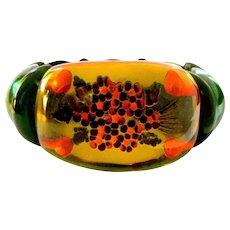 Bakelite Juice Bracelet, Vintage Reverse Carved Floral Stretchy