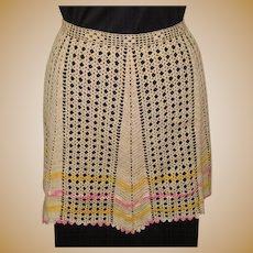 Vintage Lace Apron, Hand Crotchet, Cotton