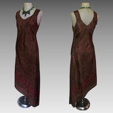 Vintage Silk Dress, Made in Italy, Border Print