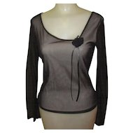 Vintage Black Mesh Blouse, Rose & Leather