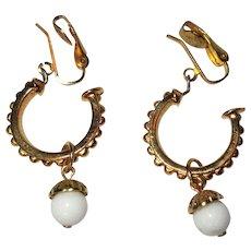 Vintage Hoop Earrings, Gold Toned Clip Ons