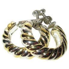 Vintage Hoop Earrings, Silver & Gold Toned Ropes, Napier Clips