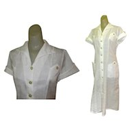 Vintage Waitress Uniform, White 1950's