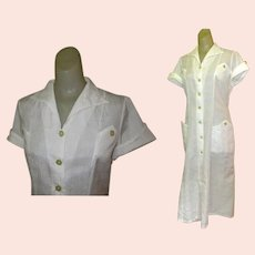 Vintage Waitress Uniform, White Halloween 1950's