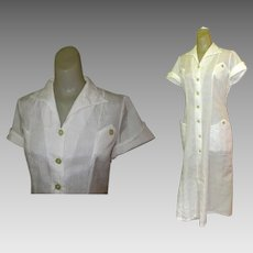 Vintage Waitress Uniform, White Halloween 1950's