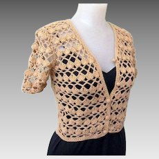 Vintage Lace Cardigan Sweater, 1970's