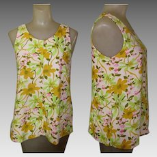 Vintage Tropical Tank Top,Floral Knit.