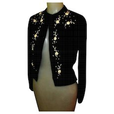 Black Cardigan Sweater, Rose Embroidery, Vintage 1950's