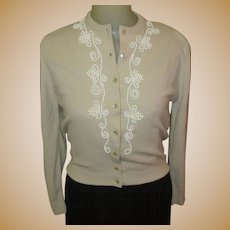 Beaded Cardigan Sweater, Vintage 1950's, Grapes