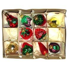 Mercury Glass Vegetable Christmas Tree Ornaments West Germany