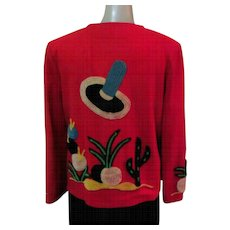 Mexican Embroidered Jacket, 1940's Red Wool Tourist