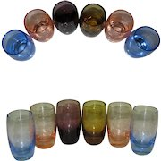 Vintage Shot Glasses, Etched, Set of 6