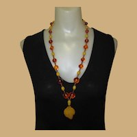 Bakelite Necklace, Vintage Beads, Butterscotch & Tortoise