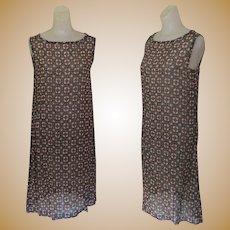 Vintage Chiffon Dress, Shift, Sheer, Brown & Black