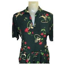 Vintage 40's Dress, Rayon Poodle Print