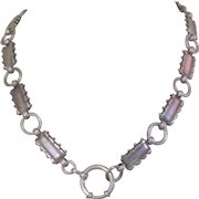 Victorian English Silver Chain, Gothic Revival, Antique Necklace