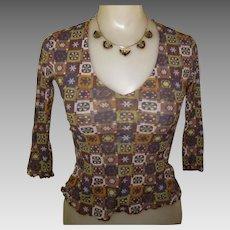 Vintage Sheer Knit Blouse / Vintage Top, Mod