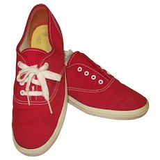 Vintage Keds Sneakers, Red Canvas Shoes 7.5